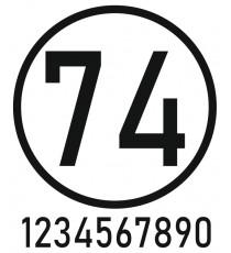 Sticker numéro voiture (N° + rond)
