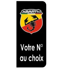 Stickers plaque immatriculation Abarth noir blason