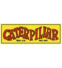 Stickers Caterpillar vintage jaune et rouge